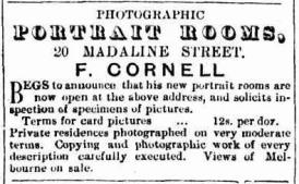 Cornell Hope Inn photographer advert 17 Feb 1866