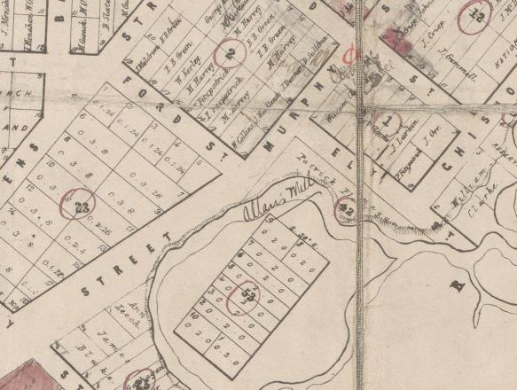 Wangaratta township map 1857-1863 portion showing Allan's Mill